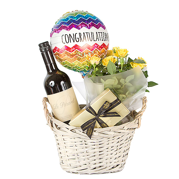 Red wine gift basket for 40th wedding anniversary