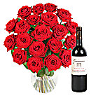 20 Luxury Red Roses with Red Wine