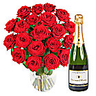 20 Luxury Red Roses with Champagne