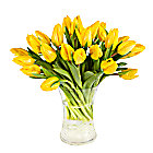 30 Yellow Tulips with Vase