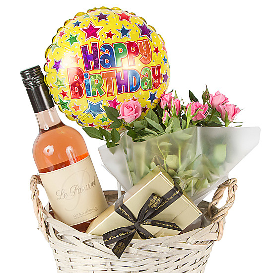Rose Wine Gift Basket Happy Birthday Delivered Next Day