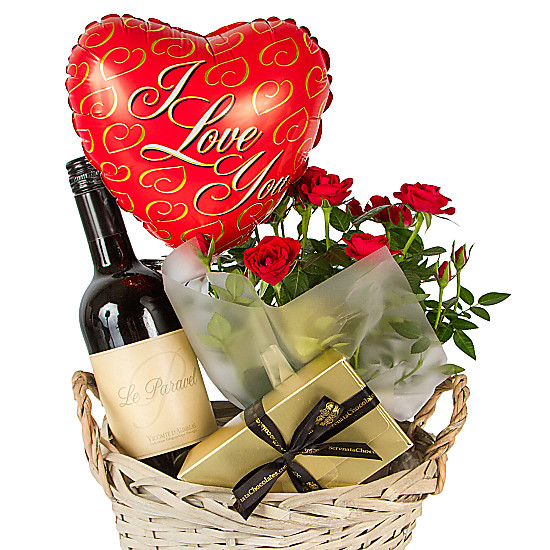 Red wine gift basket i love you delivered next day for Next day wine gifts
