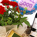 Red Wine Gift Basket - Get Well Soon