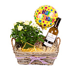 White Wine Gift Basket - Happy Birthday