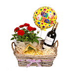 Red Wine Gift Basket - Happy Birthday
