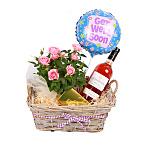 Rose Wine Gift Basket - Get Well Soon