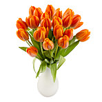 20 Orange Tulips with Vase