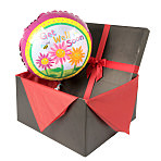 Get Well balloon in giftbox - flowers