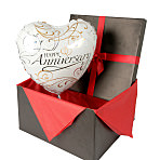 Anniversary balloon in giftbox - white