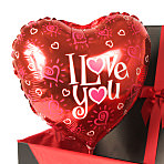 I Love You balloon in giftbox - hearts