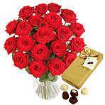 20 Luxury Red Roses with Chocolates