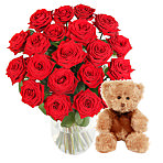 20 Luxury Red Roses with Teddy