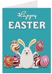 Happy Easter - Bunny with Eggs