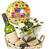 White Wine Gift Basket Happy Birthday
