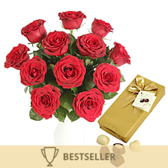 A Dozen Red Roses with Chocolates-Giftwrap - Flowers