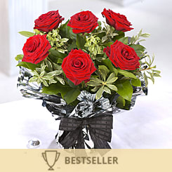 6 Red Rose Bouquet - Flowers
