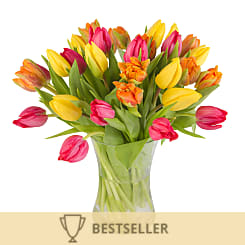Bright Mix Tulips with Vase - Flowers