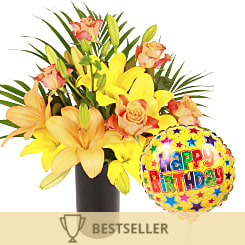 Aztec Sun with Happy Birthday Balloon - Flowers