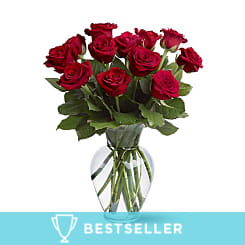 12 Long Stemmed Red Roses - Flowers