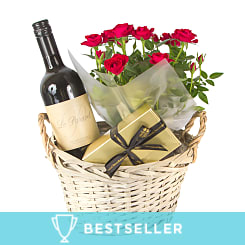 Red Wine Gift Basket Red Roses - Hampers