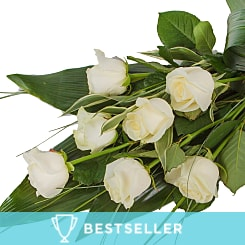 Elegant White Rose Sheaf - Flowers