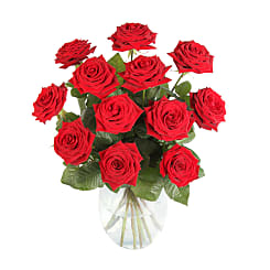 12 Luxury Red Roses - Flowers