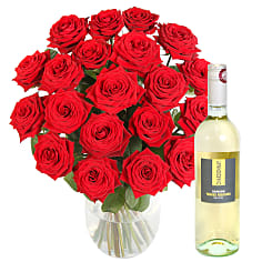 20 Luxury Red Roses with White Wine - Flowers