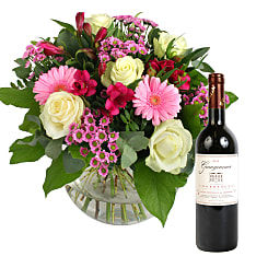 Beautiful Smile with Red Wine - Flowers