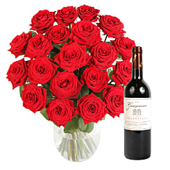 20 Luxury Red Roses with Red Wine - Flowers