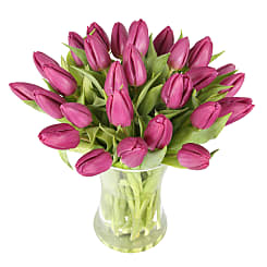 30 Purple Tulips with Vase - Flowers