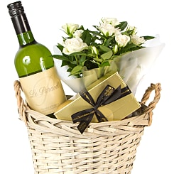 White Wine Gift Basket - Hampers