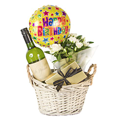 White Wine Gift Basket Happy Birthday - Flowers