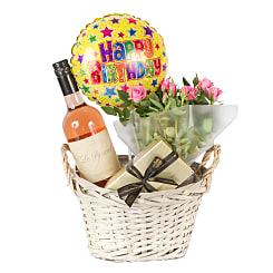 Rose Wine Gift Basket Happy Birthday - Flowers