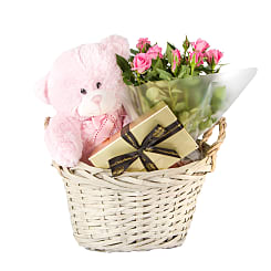 Baby Girl Gift Basket - Flowers