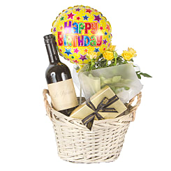 Red Wine Gift Basket Happy Birthday - Flowers