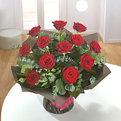 12 Red Rose Bouquet - Flowers