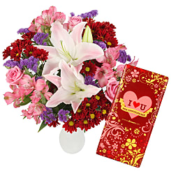 Crimson Kiss with I Heart U Chocolate Bar - Flowers