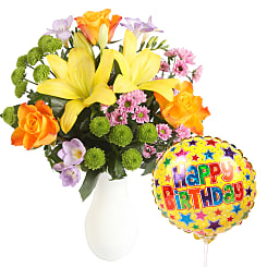 Colourburst with Happy Birthday Balloon - Flowers