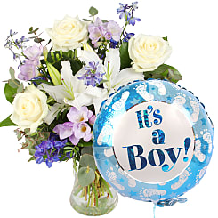 Summer Skies with It's a Boy Balloon - Flowers