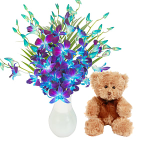 Flower bouquet Blue Dendrobium with Teddy