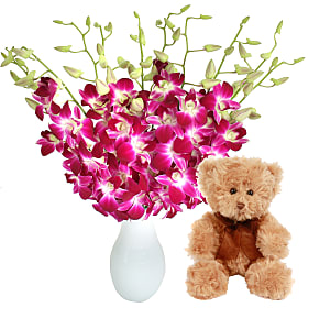 Flower bouquet Bali Hai with Teddy