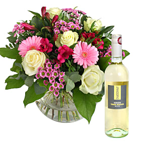 Flowers and wine flower gifts delivered serenata flowers flower bouquet beautiful smile with white wine mightylinksfo