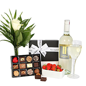 Gift delivery Chardonnay and Luxury Belgian Choco...