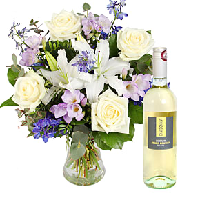 Flower bouquet Summer Skies with White Wine