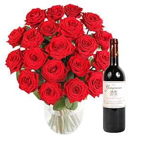 Flower bouquet 20 Luxury Red Roses with Red Wine