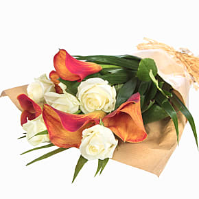 Flower bouquet Orange Callas and Roses