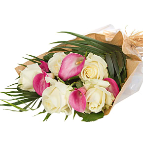 Flower bouquet Pink Callas and Roses