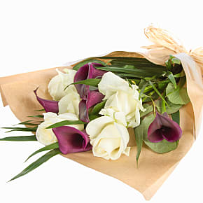 Flower bouquet Purple Callas and Roses