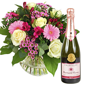 Flower bouquet Beautiful Smile with Pink Champagne