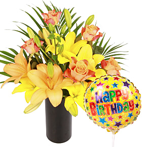 Flower bouquet Aztec Sun with Happy Birthday Ballo...